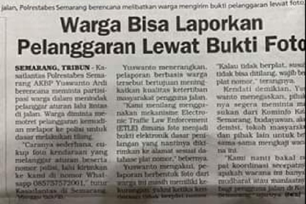 Warganet Semarang Tolak Tilang Berdasarkan Bukti Foto