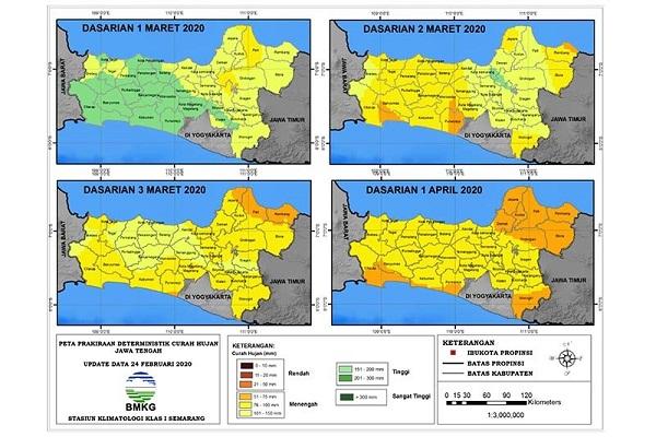 Puncak Musim Penghujan di Jateng Selatan Dasarian Pertama Maret 2020