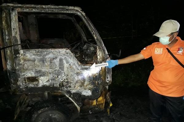 Geger, Truk Dibakar Orang Tak Dikenal di Hutan Monggot Grobogan