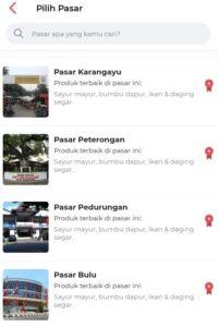 Beberapa pasar yang ditawarkan aplikasi Tumbasin.id. (Semarangpos.com-Tumbasin.id)