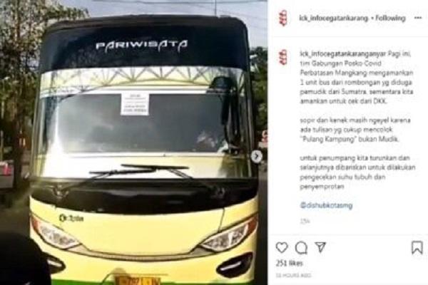 """Andalkan Tulisan """"Pulang Kampung Bukan Mudik"""", Bus dari Sumatra Masuk Semarang"""