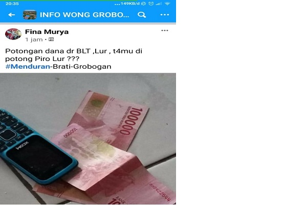 "Posting BLT Dana Desa ""Disunat"" di Medsos, Warga Brati Grobogan Meminta Maaf"