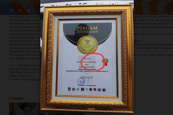 Piagam Penghargaan Salatiga Typo dan Viral di Medsos, Begini Tanggapan Wali Kota Yuliyanto