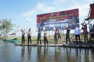 Kapolda Jateng, Bupati Grobogan dan Kapok Sahli Pangdam IV/Diponegoro menebar benih ikan di Kali Mati, Bendung Kletak, Klambu, Grobogan, Senin 13 Juli 2020. (Semarangpos.com-Arif Fajar Setiadi)