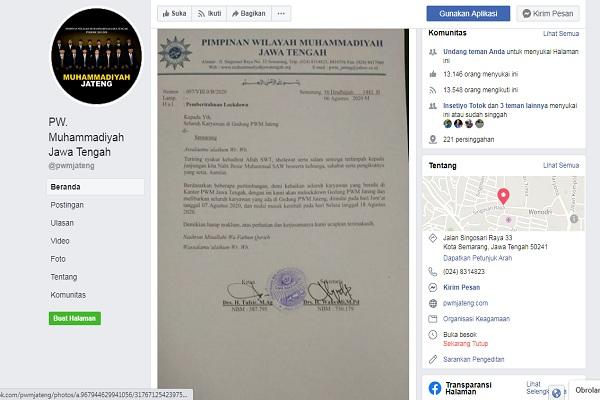 Gedung Muhammadiyah Jateng Di-Lockdown, Pengurus Sebut Ada yang Reaktif Covid-19