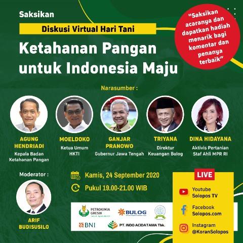 Diskusi Virtual Ketahanan Pangan, Solopos Hadirkan Moeldoko hingga Ganjar Pranowo