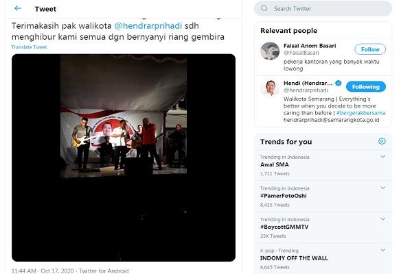 Viral, Calon Petahana Wali Kota Semarang Hendi Nyanyi Tanpa Masker di Acara Kampanye
