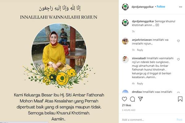 Mantan Bupati Semarang Siti Ambar Fatonah Meninggal Dunia, Kader Golkar Sebut Karena Covid-19