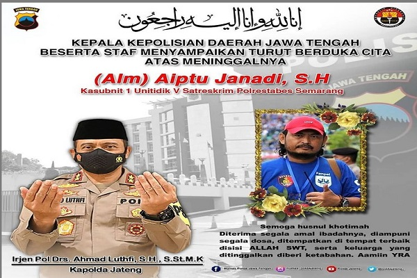 Innalillahi, Polrestabes Semarang Kehilangan Serse Legendaris Aiptu Janadi