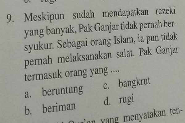 Viral Disebut Tak Pernah Bersyukur & Salat di Buku Soal, Begini Reaksi Ganjar