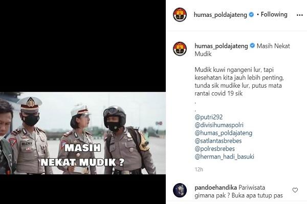 Polda Jateng Imbau Tidak Mudik, Begini Reaksi Netizen