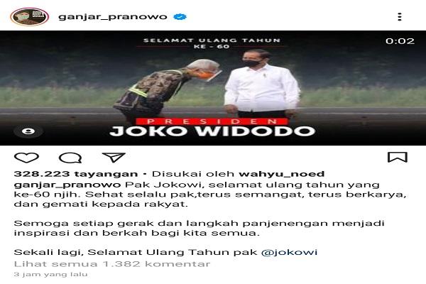 Gubernur Ganjar Beri Ucapan Selamat Ulang Tahun ke Presiden Jokowi